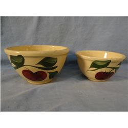 "(2) Watt Ware advertising bowl, 6"" & 5"", Olson's General Merchandise, Niobrara, NE.; Minnard's Dairy"