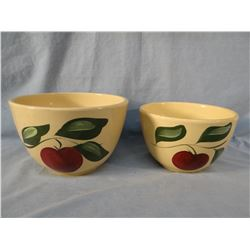 """6 pcs: Watt Ware apple pattern bowls, 5"""" each and 2 bowls, 7"""" and 8"""", hairlines"""