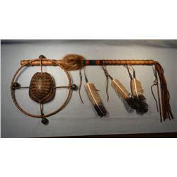 "2 Turtle shell hoop dance sticks, 26"", Chippewa/Cree"