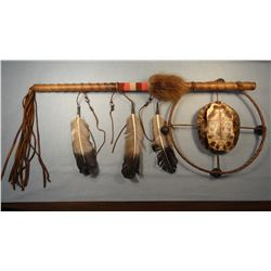 "2 Turtle shell hoop dance sticks, 26"", Chippewa/Cree"