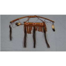 "Bow with quiver, 45"" bow, 2 arrows, iron points, Chippewa/Cree"