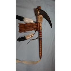 """Buffalo horn rattle, 24"""", Chippewa/Cree, Many Trails Collection"""