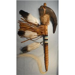 "Buffalo horn rattle, 24"", Chippewa/Cree, Many Trails Collection"