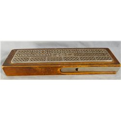 Vintage cribbage board w/original game directions
