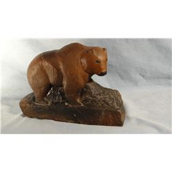 "2 Hank Chopwood (1941-2005) sandstone sculptures, bear 7"" h x 10""w; CM Russell portrait 10"" x 10"""