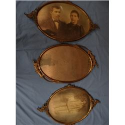 """3 brass oval picture frames, 13"""" x 16"""" and 13"""" x 19"""""""