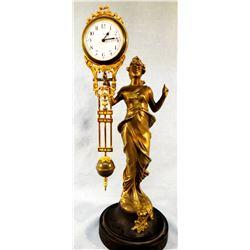 Antique Art Nouveau bronze patina swinger mystery lady figural clock, circa 1900s