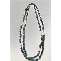 "Indian trade bead necklace, 12"" double strand, glass beads"