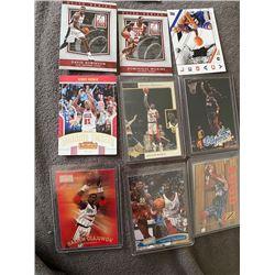 9 Card Basketball lot with HOFers Barkley, Robinson, Hakeem