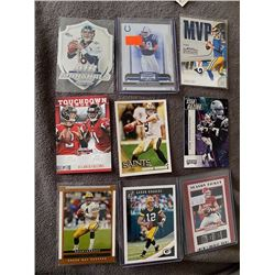 9 Card Football QB and TE lot Drew Brees, Aaron Rodgers, Favre, Mayfield, Gronkowski