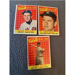 1958 Sport Magazine All Stars Frank Malzone Jackie Jensen and Bob Turley