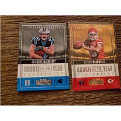 Patrick mahomes Contenders rookie of the year RC and Christian McCaffrey RC lot