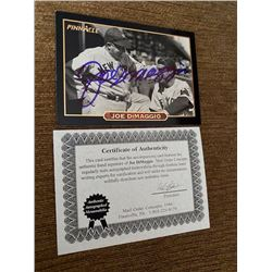 Joe Dimaggio Autograph Card with COA