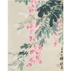 Yu Youren 1879-1964 Chinese Watercolor Flower