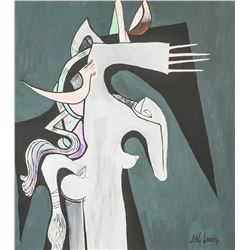 Wifredo Lam Cuban Surrealist Acrylic on Canvas