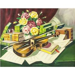 Sascher Austrian Oil on Canvas Violin Still-life