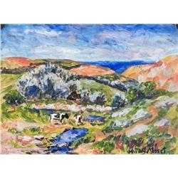 "Henry Moret French Modernist Oil on Paper ""45"""