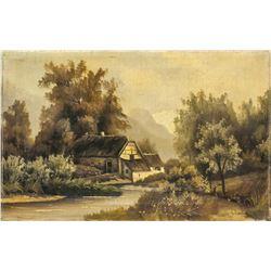 19c Village Landscape Oil Canvas Signed Illegibly