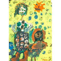 Karel Appel Dutch Modernist Oil on Paper