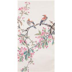 Wang Xuetao 1903-1982 Chinese Watercolor Bird Scro