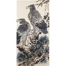 Li Kuchan 1898-1983 Chinese Watercolor Eagles