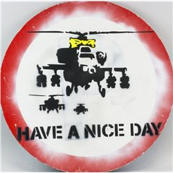 Banksy British Pop Round Reflective Sign Helicopto