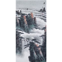Yanfu Chinese Watercolor Landscape Scroll