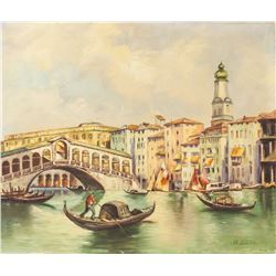 Oil on Canvas Gondola Scene Signed Fr. Ziems