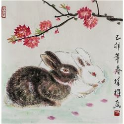 Fang Chuxiong b.1950 Chinese Watercolor Rabbits
