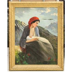 Oil on Canvas Lady Holding Baby Signed P. Arturi