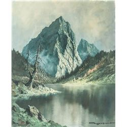Oil on Canvas Mountain Landscape Signed