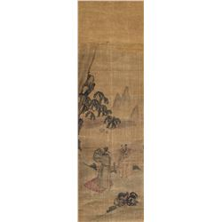 18th C. Chinese/Japanese Watercolor Silk Roll