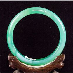 Chinese Green Chalcedony Carved Bangle Certificate