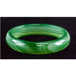 Chinese Green Hardstone Carved Bangle CERT