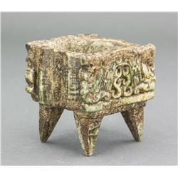 Chinese Archaic Jade Carved 4 Legged Square Censer