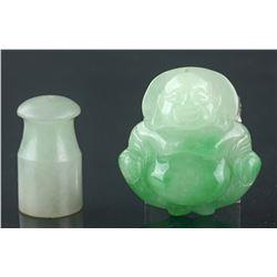 Two Chinese Jadeite Buddha & Lingguan Pendants