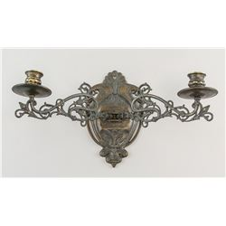 Italian Bronze Double Floral Candle Holder