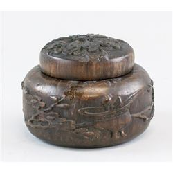 Chinese Zitan Wood Carved Bowl with Lid