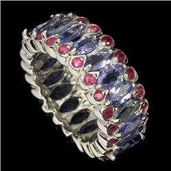 Natural Unheated Marquise Blue Tanzanite  Ruby Ring