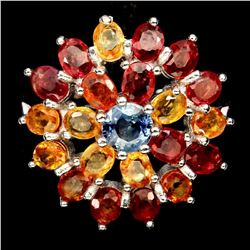 Natural Fancy Color Sapphire Flower Ring