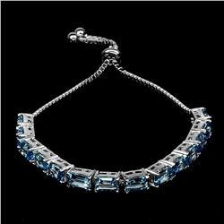 Natural Top Swiss Blue Topaz Bracelet