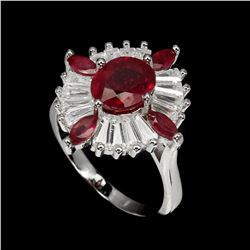 Oval Pigeon Blood Red  Ruby 28.24 Ct  Ring