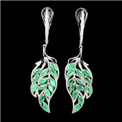 Natural Colombian Emerald Leaf Earrings