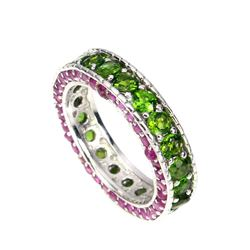 Natural Ruby & Green Chrome Diopside Ring