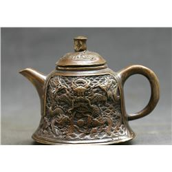Antique  Marked Chinese Bronze Dynasty Dragons Kettle