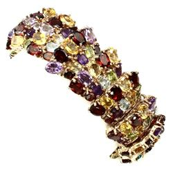 Natural Amethyst Citrine Garnet Peridot 447 Ct Bracelet