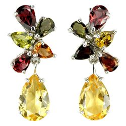 NATURAL YELLOW CITRINE & MULTI COLOR TOURMALINE Earring