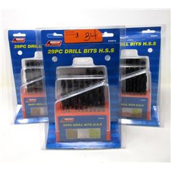 3 New 29 Piece Drill Bit Sets - H.S.S.