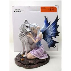 "New 7"" Fairy with White Wolf Statuette with Box"