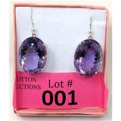 New 71.92 CT Amethyst Sterling Silver Earrings